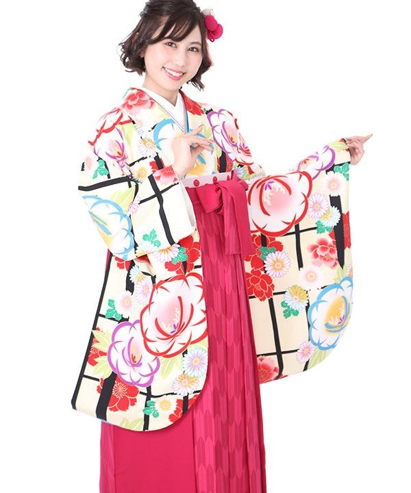 卒業式袴レンタル クリーム地に格子 牡丹に菊着物×ピンク矢絣袴