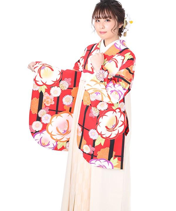 卒業式袴レンタル 赤に格子柄牡丹に菊着物×クリーム矢絣袴
