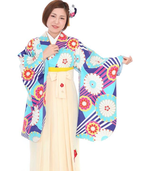 卒業式袴レンタル 水色にストライプ丸菊着物×クリーム椿刺繍袴