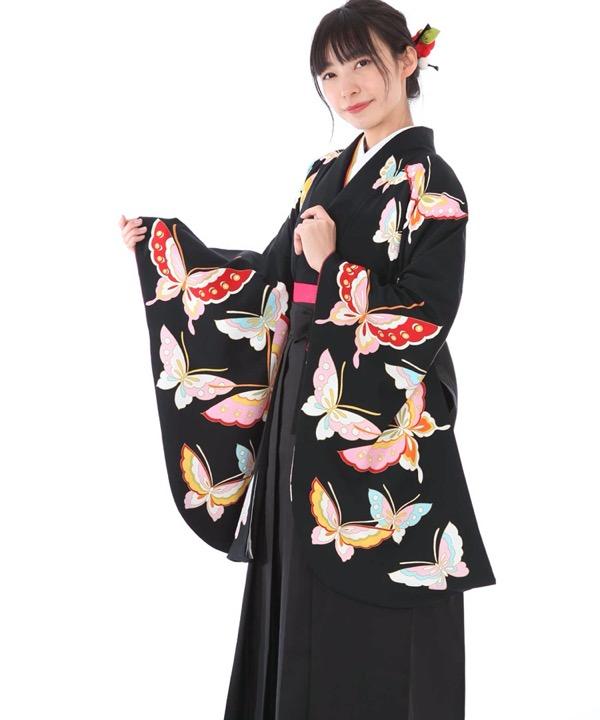 卒業式袴レンタル|黒地に蝶着物×黒無地袴