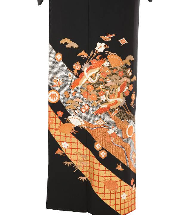 黒留袖レンタル   熨斗に宝尽くしと鶴