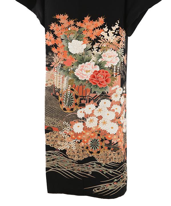 黒留袖   花車と四季の花   T0008   L