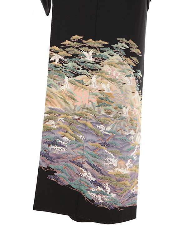 黒留袖レンタル   波文と松に飛鶴