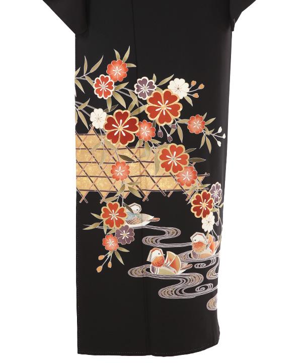黒留袖   蛇籠に鴛鴦と桜   T0013   L