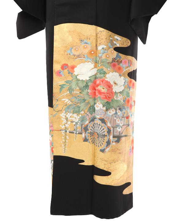 黒留袖レンタル | 雲取りに花車