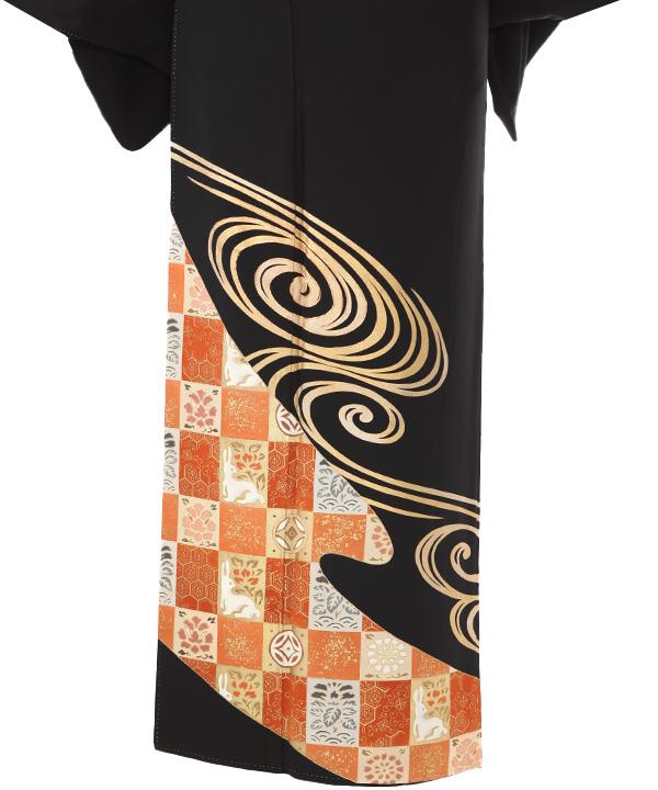 黒留袖レンタル | 観世水に市松