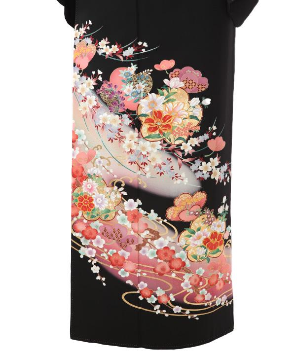 黒留袖レンタル   流水に梅と桜