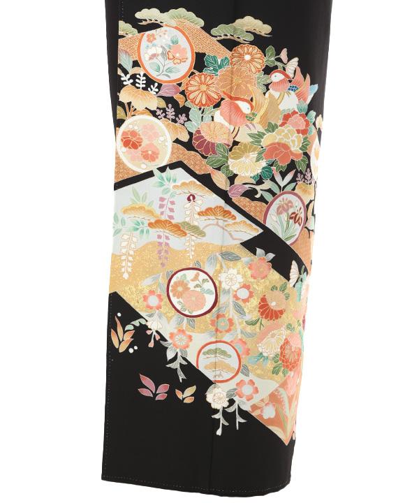 黒留袖レンタル   島善織物 四季の花と鴛鴦