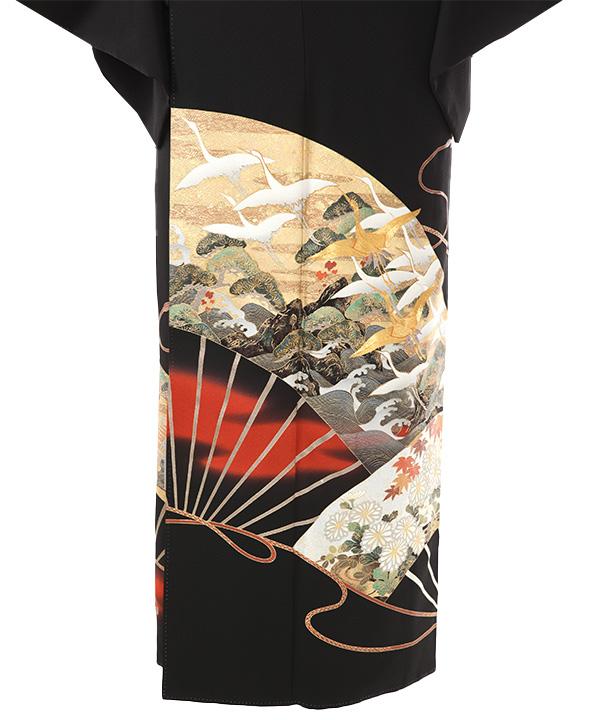 黒留袖レンタル | 関芳 扇に海賦と鶴