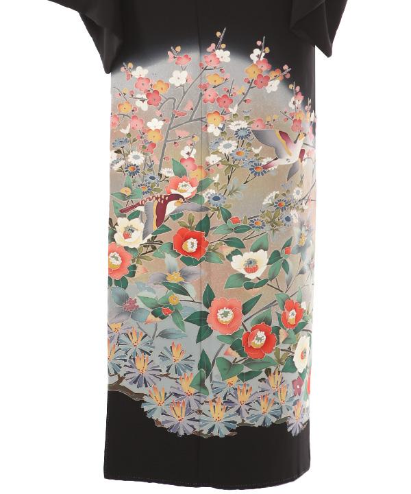 黒留袖レンタル   梅椿と雀