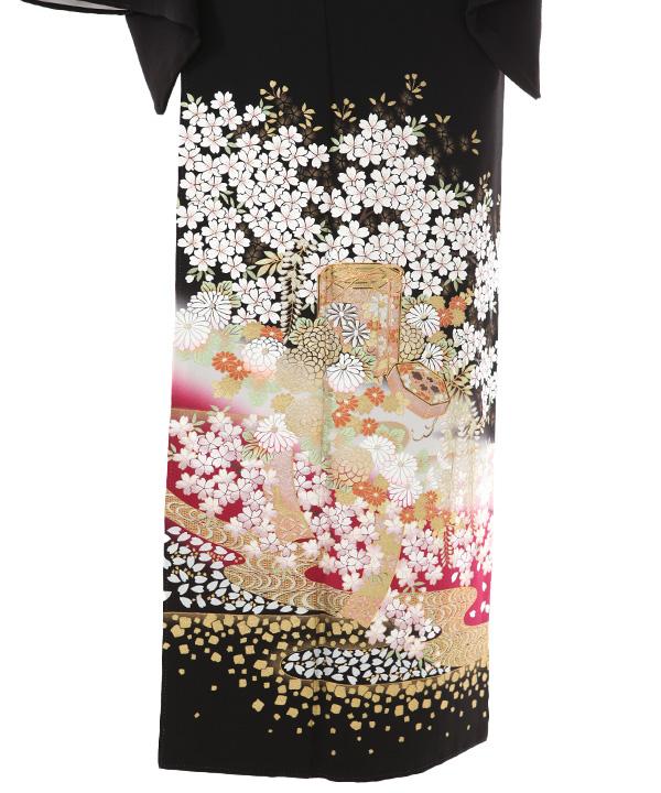 黒留袖レンタル   桂由美 藤と桜と菊の貝桶