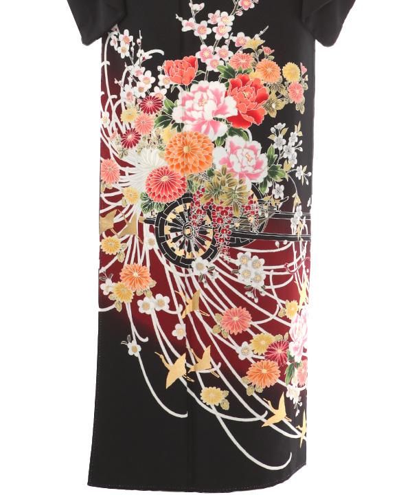 黒留袖レンタル | 花車 ポリエステル 五三の桐