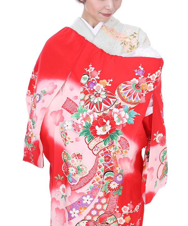 《キャンペーン価格中 ¥3780→¥3400》お宮参り産着 赤地に鞠と束ね熨斗 U0004 女の子