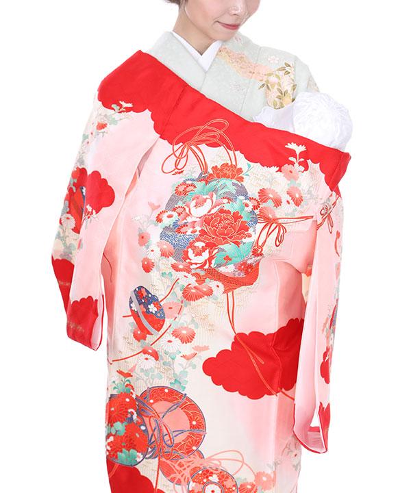 《キャンペーン価格中 ¥3780→¥3400》お宮参り産着|ピンクに赤い雲取り|U0005 女の子