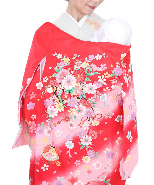 お宮参り産着 赤地に花車と桜 U0016 女の子