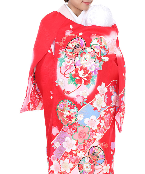 お宮参り産着|赤地に桜と皷|U0021 女の子