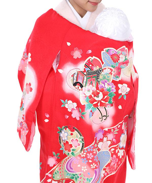 お宮参り産着レンタル 女の子|赤地に桜と皷に御所車