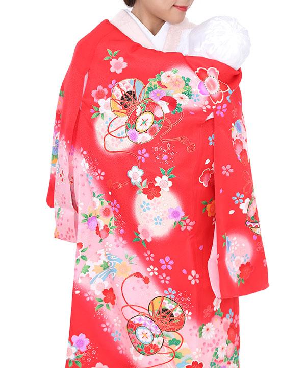 お宮参り産着レンタル 女の子 赤地に桜と鈴と皷