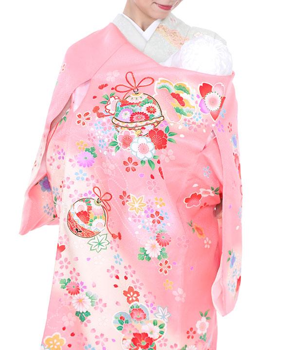 お宮参り産着レンタル 女の子 ピンク地に鈴と桜