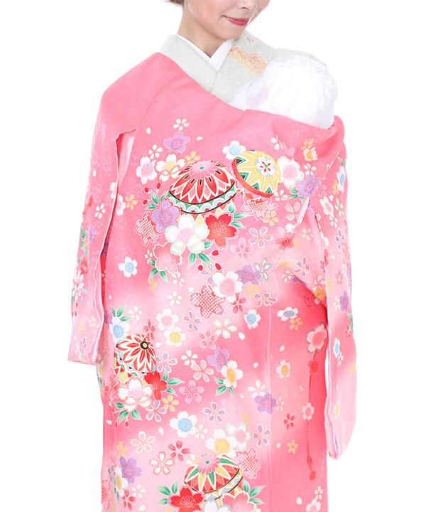お宮参り産着 ピンク地に桜と鞠 U0029 女の子