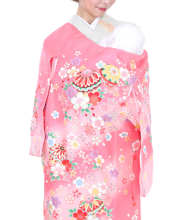 お宮参り産着|ピンク地に桜と鞠|U0029 女の子