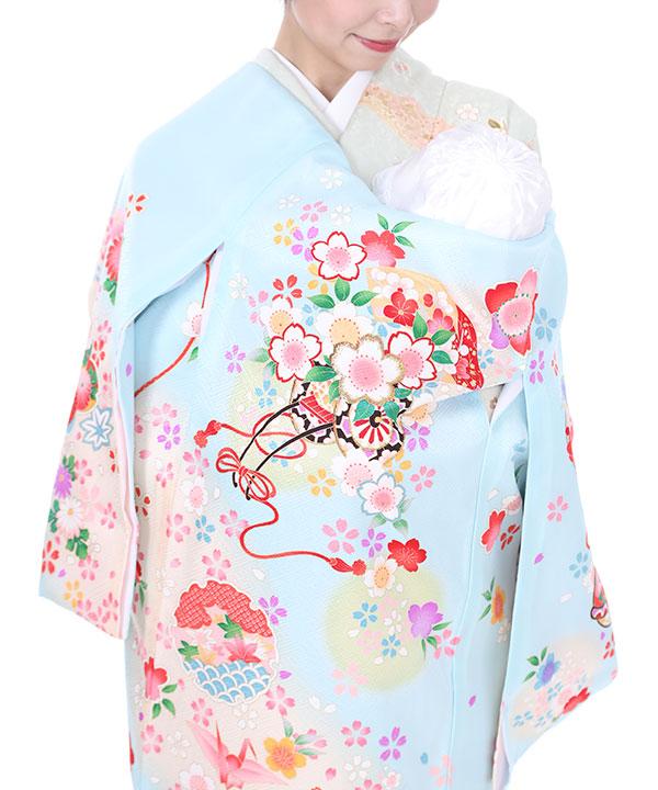 お宮参り産着|水色地に花車と桜|U0030 女の子