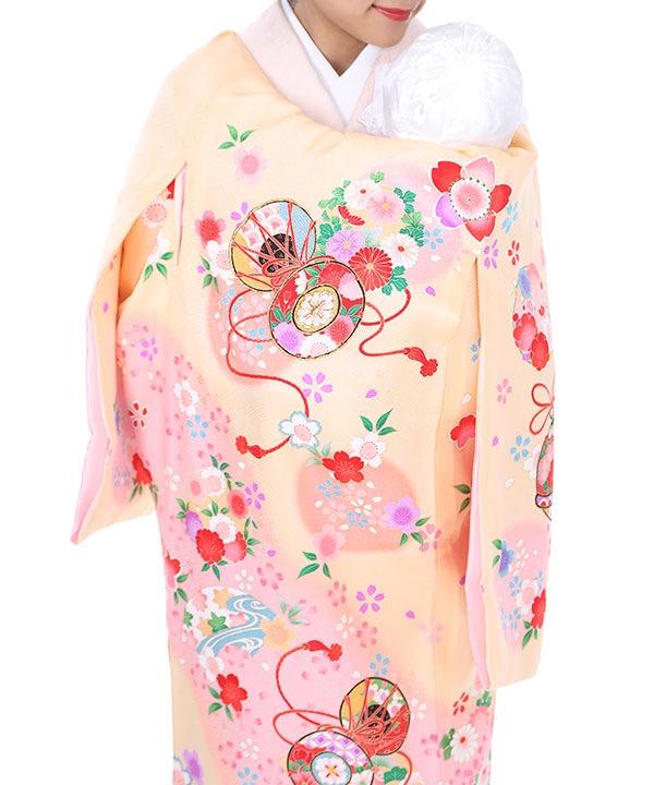 《期間限定 14%OFF◆¥8100→¥6,900 》お宮参り産着 クリーム地に桜と皷 U0031 女の子