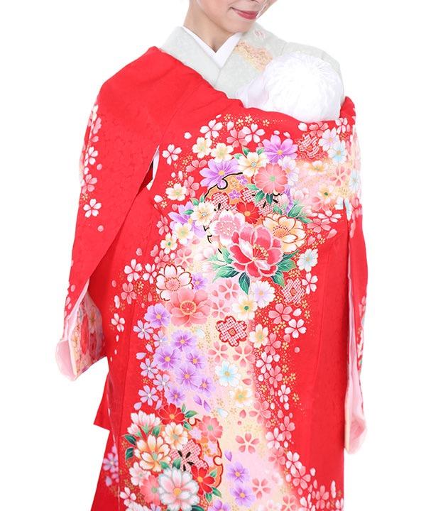 お宮参り産着|赤地に桜と牡丹|U0032 女の子
