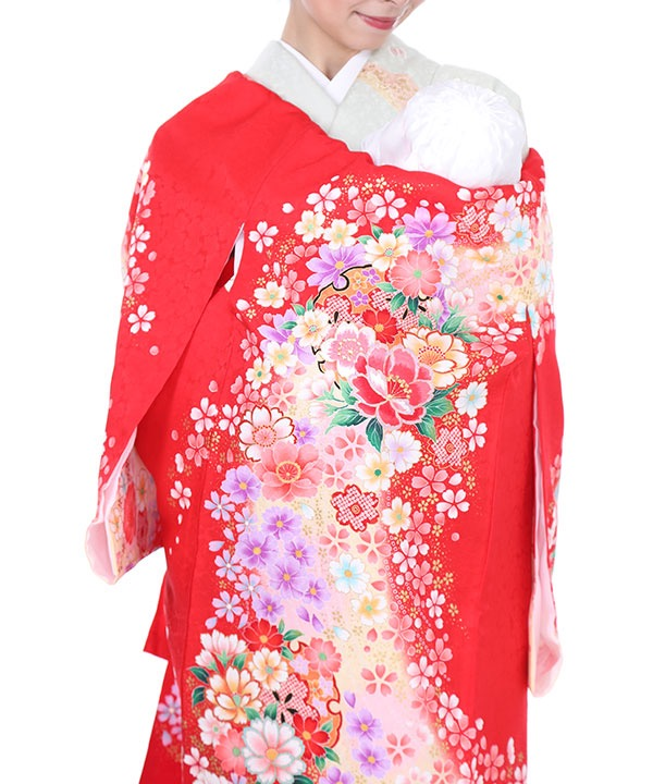 《期間限定 14%OFF◆¥8100→¥6,900 》お宮参り産着 赤地に桜と牡丹 U0032 女の子