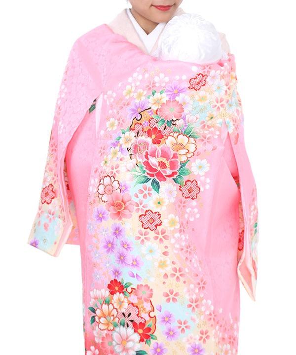 《期間限定 14%OFF◆¥8100→¥6,900 》お宮参り産着 ピンク地に桜と牡丹 U0033 女の子