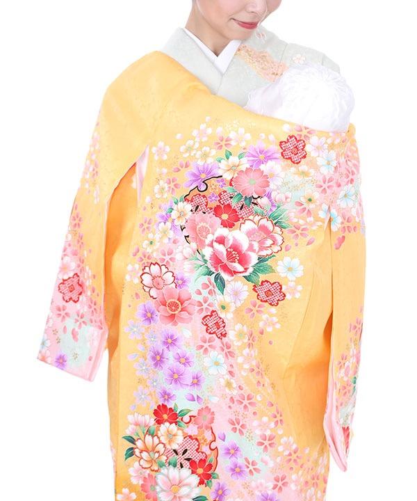 《期間限定 14%OFF◆¥8100→¥6,900 》お宮参り産着 黄色地に桜と牡丹 U0034 女の子