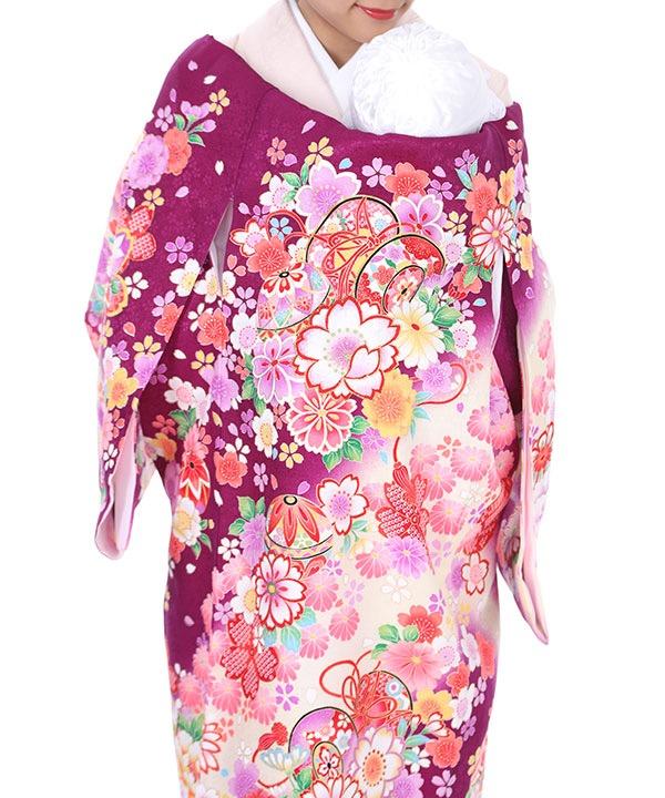 お宮参り産着レンタル 女の子|紫地に牡丹と桜