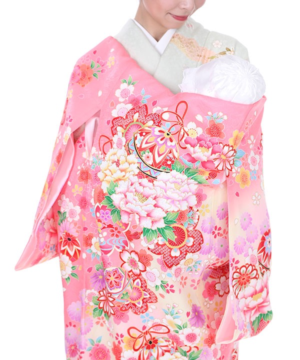 お宮参り産着|ピンク地に牡丹と桜|U0036 女の子