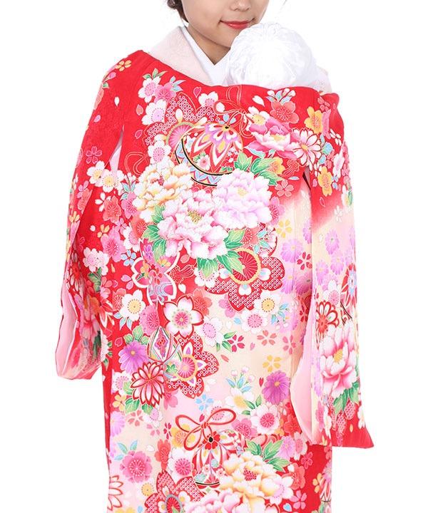 お宮参り産着レンタル 女の子|赤地に牡丹と桜