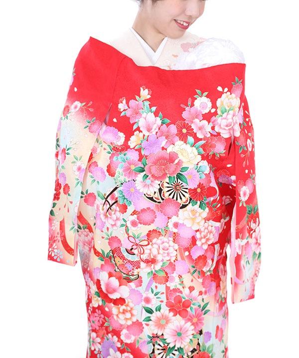 お宮参り産着レンタル 女の子|赤地に花車と花模様