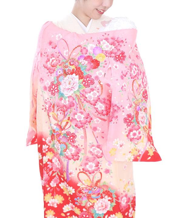 お宮参り産着 ピンク地に牡丹と熨斗目 U0041 女の子