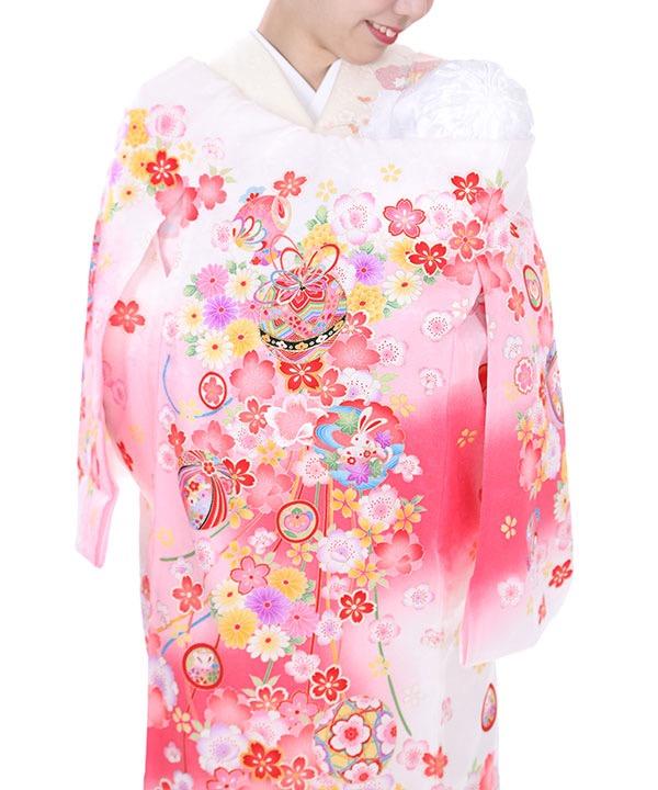 お宮参り産着レンタル 女の子|白地に桜と兎