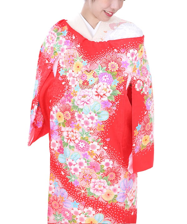 お宮参り産着レンタル 女の子|赤地に牡丹と桜と鞠