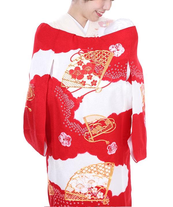 お宮参り産着レンタル 女の子|絞り染めに扇の金駒刺繍
