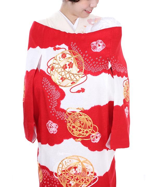 お宮参り産着レンタル 女の子|絞り染めに鞠の金駒刺繍