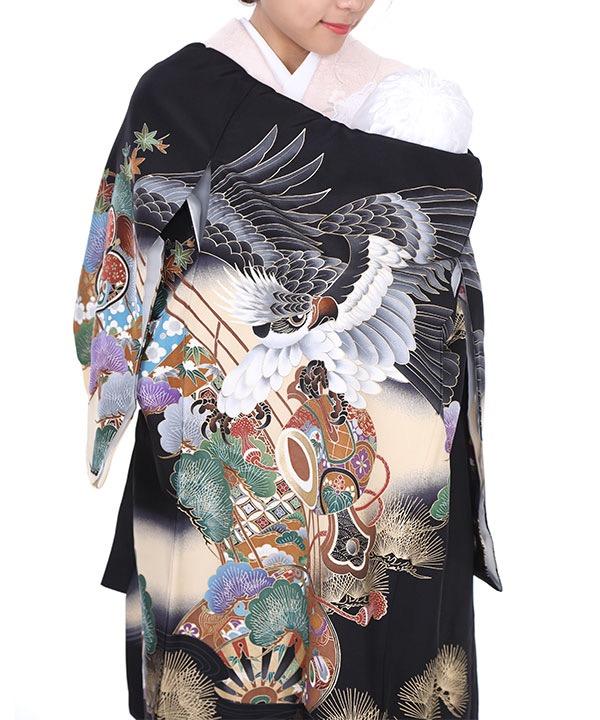 お宮参り産着レンタル 男の子 黒地に鷹と打ち出の小槌
