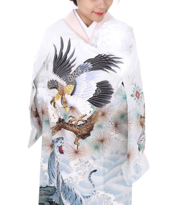 お宮参り産着 白地に鷹と白虎 U0061 男の子