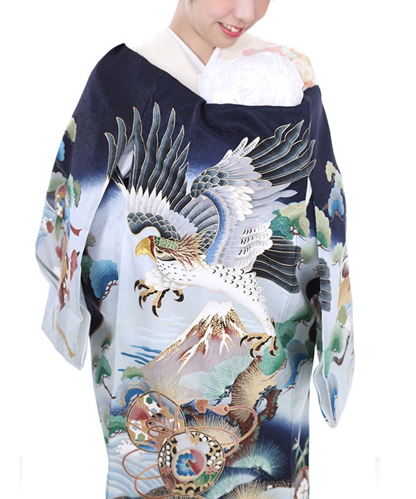 お宮参り産着レンタル 男の子 紺地に鷹と富士に松の木