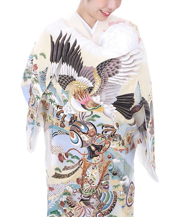 お宮参り産着レンタル 男の子|白地に鷹と兜に熨斗目