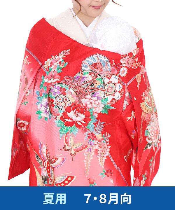 【夏用・7・8月向け】お宮参り産着レンタル 女の子|赤地に鼓と蝶
