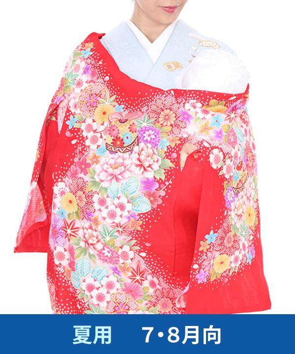 【夏用・7・8月向け】お宮参り産着レンタル 女の子 赤地に牡丹と桜と鞠