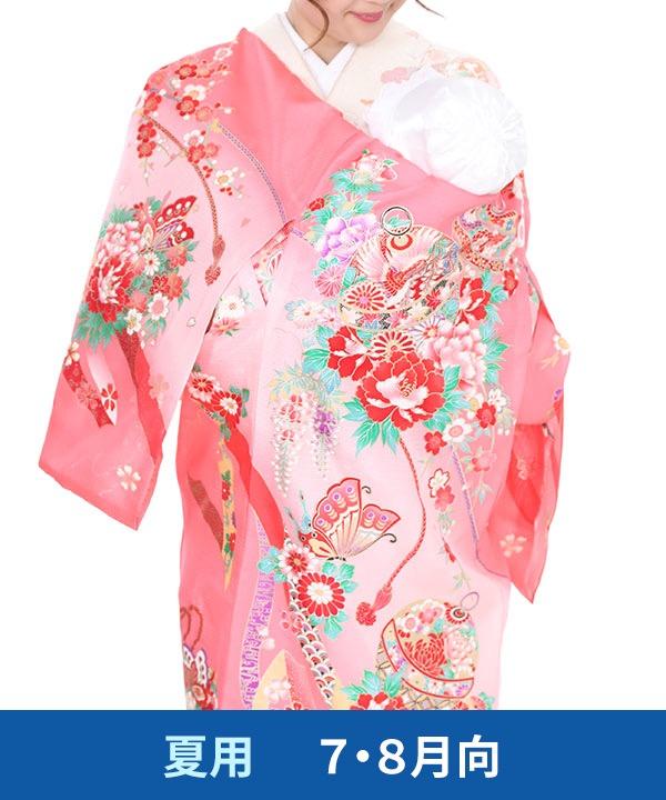 【夏用・7・8月向け】お宮参り産着レンタル 女の子 ピンク地に鈴と蝶