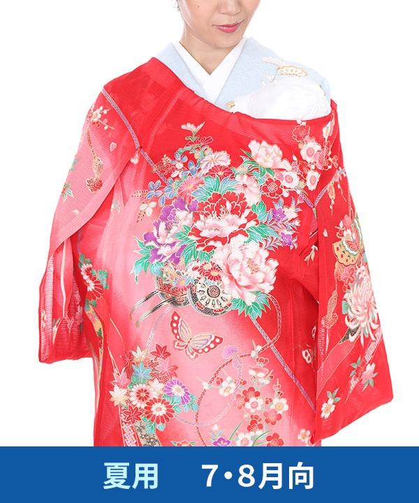 【夏用・7・8月向け】お宮参り産着レンタル 女の子|赤地に花車と蝶