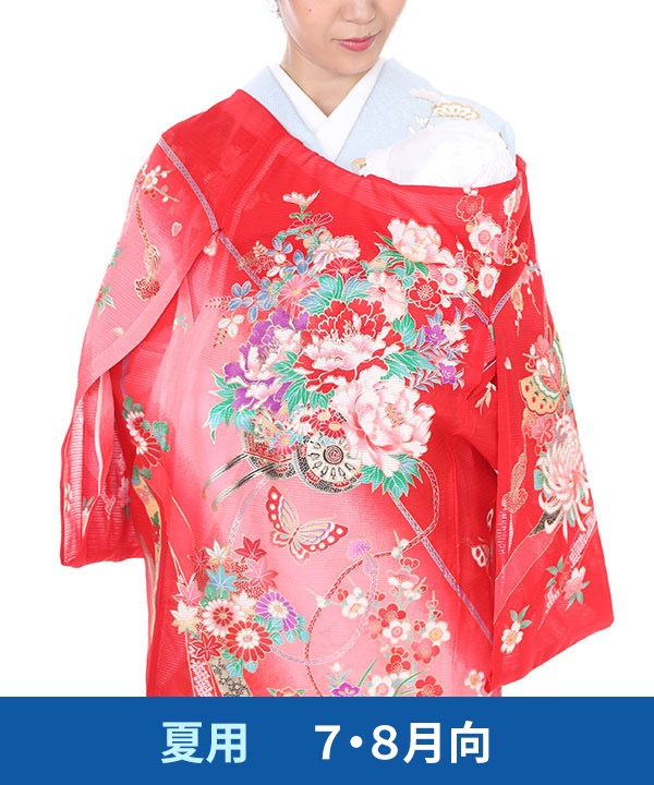 【夏用・7・8月向け】お宮参り産着レンタル 女の子 赤地に花車と蝶