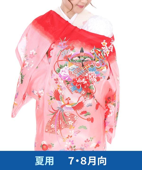 【夏用・7・8月向け】お宮参り産着レンタル 女の子|赤地に鳳凰と糸巻